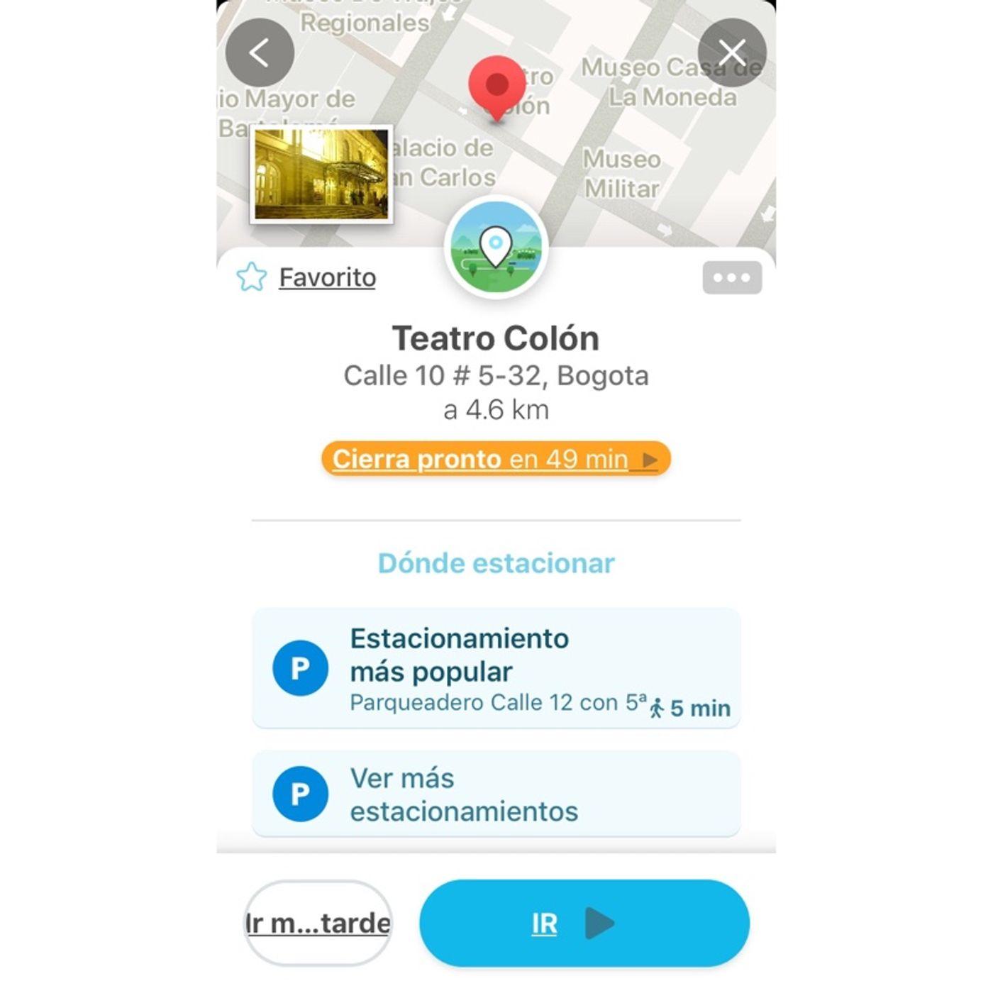 Estacionamiento vía Google Maps y Waze