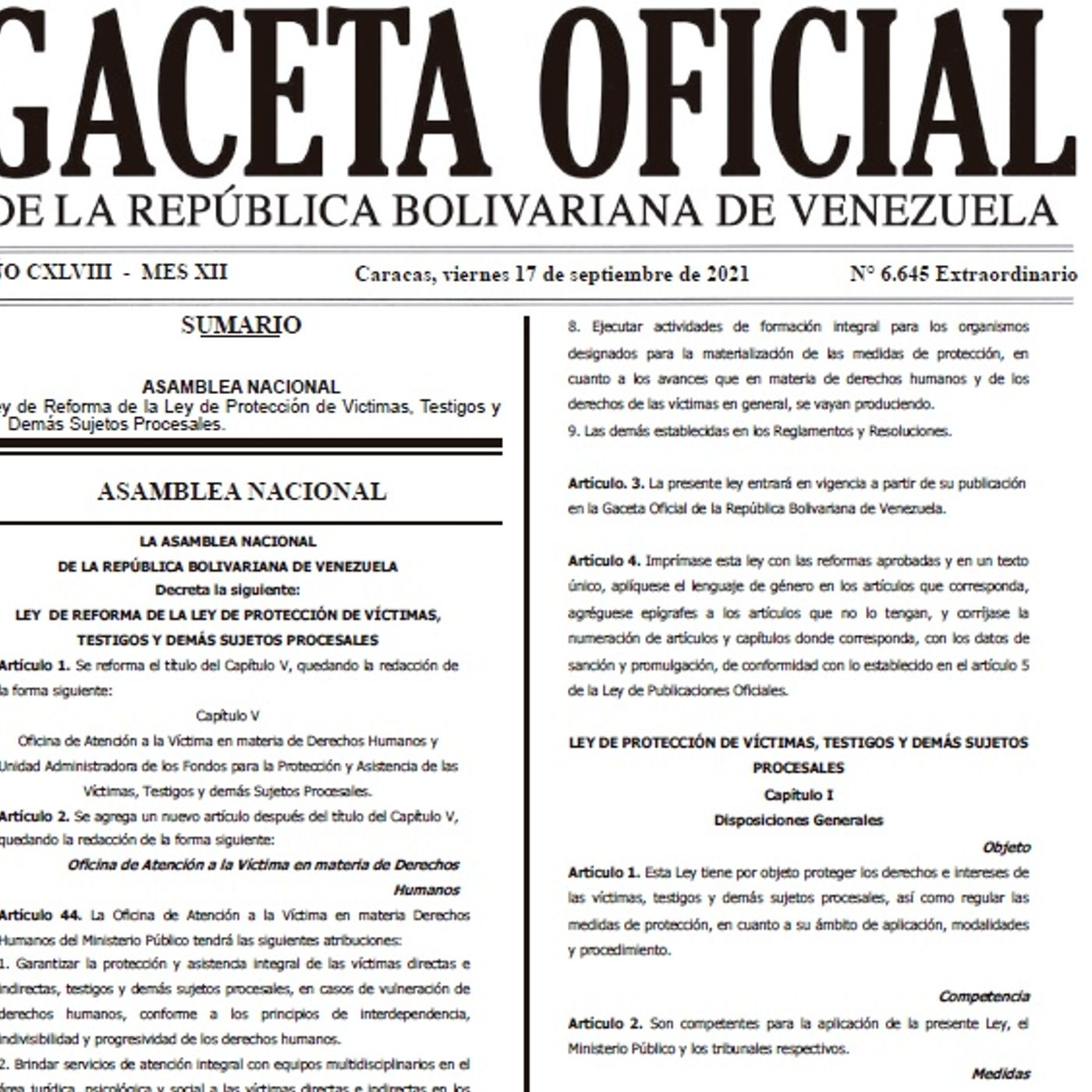 LEY DE PROTECCIÓN DE VÍCTIMAS, TESTIGOS Y DEMÁS SUJETOS PROCESALES