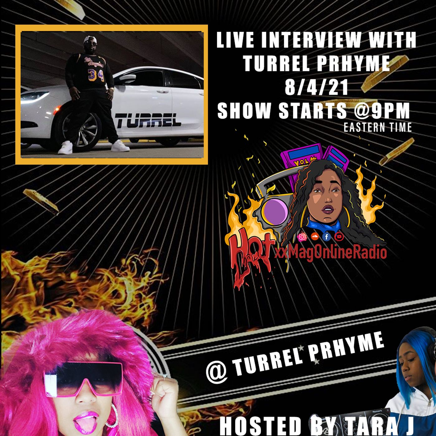 HotxxMagOnlineRadio LIVE With Turrel Prhyme   Hosted By Tara J