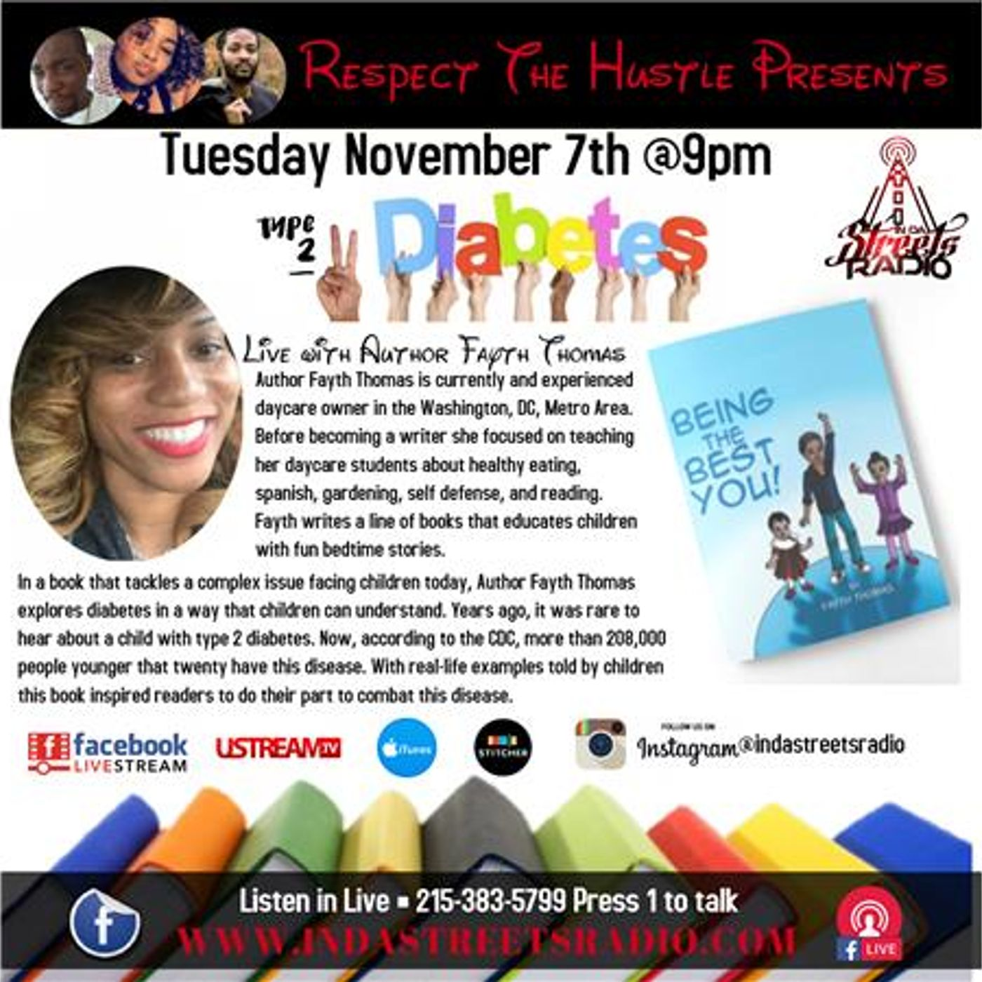 Childrens Author Fayth Thomas Live on Respect The Hustle 215-383-5799