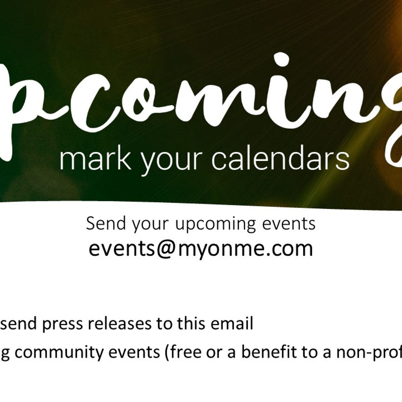 ONME Events Calendar for the week of March 25