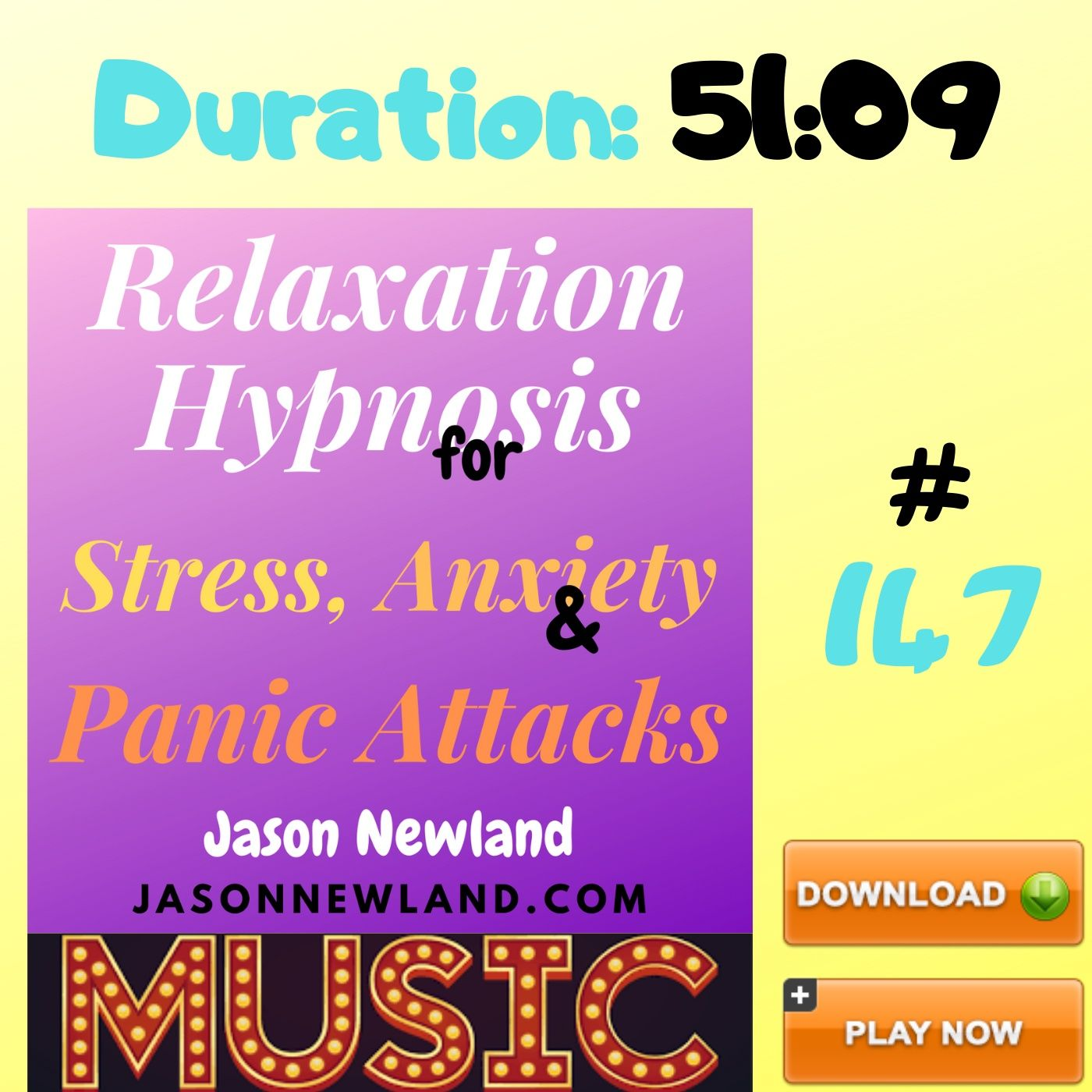 "#147 Relaxation Hypnosis for Stress, Anxiety & Panic Attacks - ""FOCUS ON FEELING RELAXED"" (Jason Newland) (4th June 2020) with MUSIC"