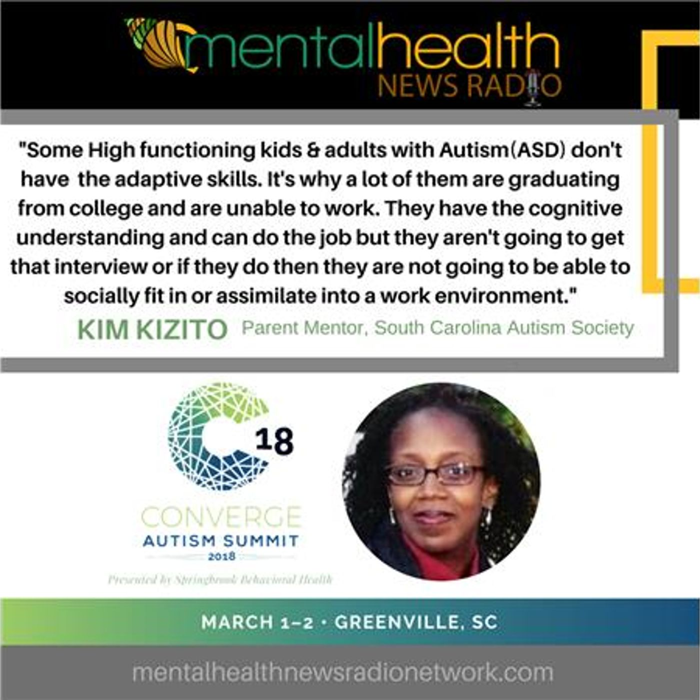 Mental Health News Radio - Autism: A Mother's Journey Advocating with South Carolina Autism Society