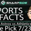 FREE MLB Baseball Betting Pick: Astros vs. Athletics - July 23