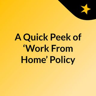 A Quick Peek of 'Work From Home' Policy In 2020