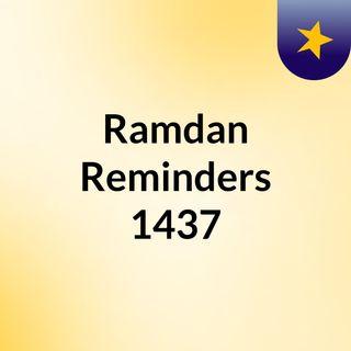 Ramdan Reminders 1437