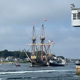 Mayflower Two travels Cape Cod canal on her way home to Plymouth