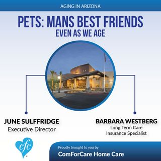 4/23/17: June Sulffridge, Executive Director of Park Wood Senior Living and Long Term Care Insurance Specialist, Barbara Westberg   Pets: Ma
