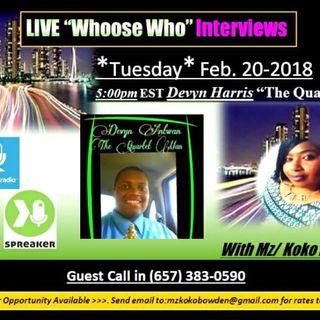 "Mz. Koko Bowden interviews "" The Quartet Man"" Devyn"