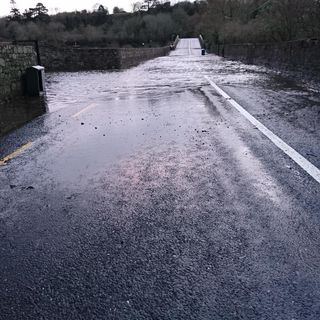 """Flooded Knocklofty Bridge passable with 17"""" waders #Clonmel"""
