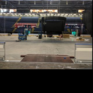 Talking jumbotron with Motorpoint Arena bosses!
