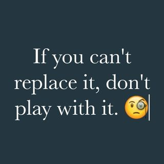 If you can't replace it, don't play with it.