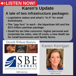 """A tale of two infrastructure packages, implications of each for small biz, and the """"pay fors"""" for each; small biz tax hike concerns."""