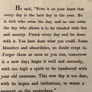 """Write it on your heart..."" - Ralph Waldo Emerson"