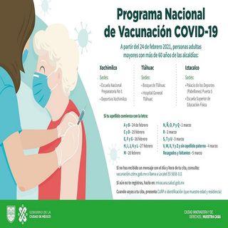 Continúa vacunación contra covid-19 en las alcaldías de Iztacalco, Tláhuac y Xochimilco