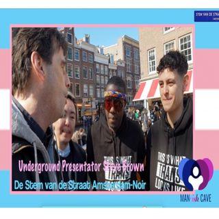 Steve Brown: Manish Cave Transgender Visibility manifestatie in Amsterdam.