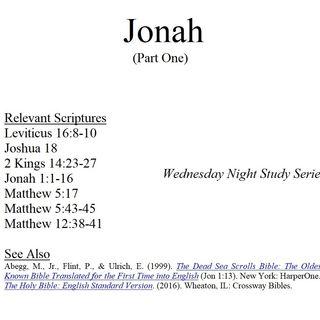 Wednesday Night Study Series - Jonah Part 1 - Jonah Runs, Mariners Convert
