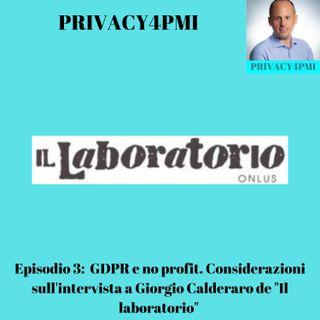 """Episodio 3: GDPR e no profit. Considerazioni sull'intervista a Giorgio Calderaro de """"Il laboratorio"""""""