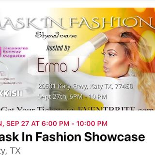 Mask in fashion show case with Marcus Muhd
