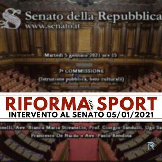 Riforma dello Sport - Audizione al Senato 05/01/2021