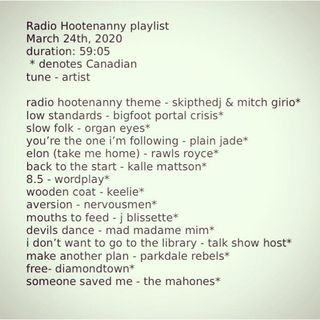 Radio Hootenanny Late March 2020