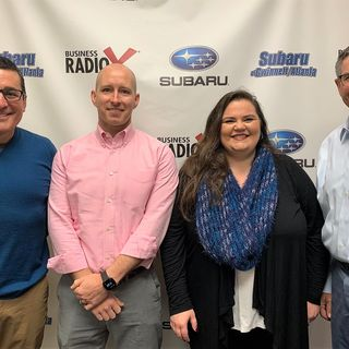 SIMON SAYS, LET'S TALK BUSINESS: Gil Madrid & Jonathan Shaw with Ermi, and Cally D'Angelo with the Gwinnett Chamber