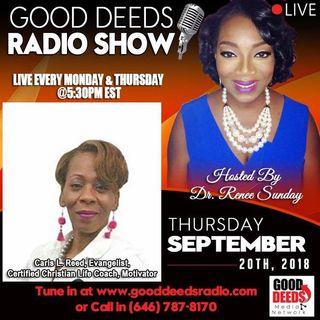 Caris l Reed Evangelist Certified Christian ife Coach Motivator Good Deeds RadioShow