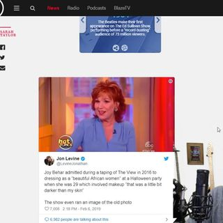 Joy Behar dressed as a 'beautiful African woman'