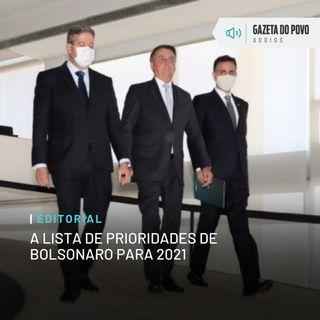 Editorial: A lista de prioridades de Bolsonaro para 2021