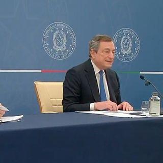 Conferenza stampa Mario Draghi sul decreto Sostegni bis