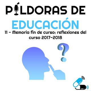 PDE11 Memoria de fin de curso: reflexiones del curso 2017-2018