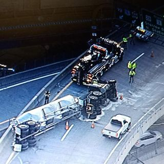 Cement Truck Rolls Over On Tobin Bridge Ramp