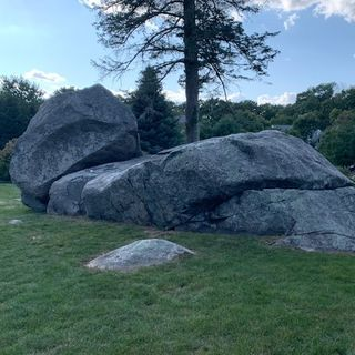 The iconic Balancing Rock in Holliston is balancing no more