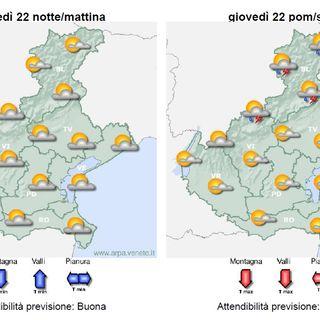 Previsioni meteo 20-23 luglio: tempo soleggiato con variabilità sui rilievi