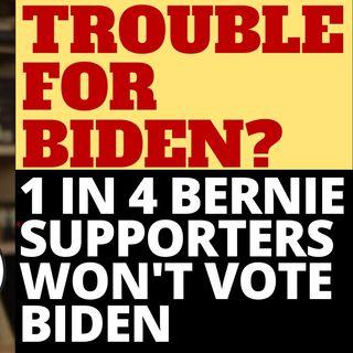 1 IN 4 BERNIE SUPPORTERS WON'T VOTE FOR BIDEN