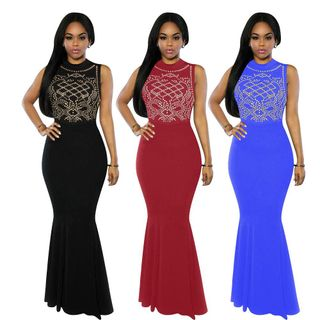Fashion Women's Long Fitted Beading Sleeveless Evening Party Gowns