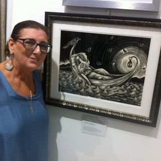 """2018 10-04 Evangelia Philippidis uses the """"scratch board"""" technique in her show at the Pump House"""