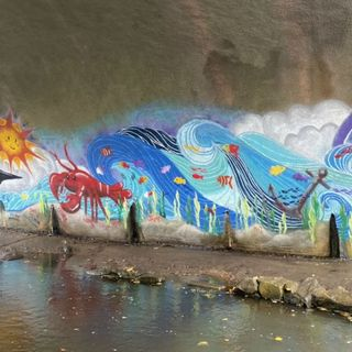Plymouth Students Create Colorful Mural Under Bridge