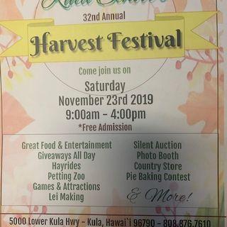 Kula Harvest Festival Saturday Nov 23