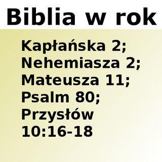 092 - Kapłańska 2, Nehemiasza 2, Mateusza 11, Psalm 80, Przysłów 10:16-18