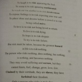 Risk Poem By Janet Rend