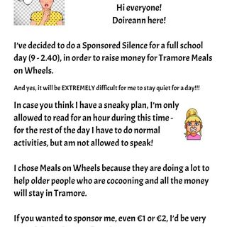 4th class pupil in Tramore Doireann Ní Chuilleanáin raised over €700 for Meals on Wheels