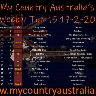 My Country Australia Weekly Top 15 Weekending Feb 21 2020