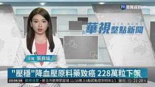 """21:47 """"壓穩""""降血壓原料藥致癌 228萬粒下架 ( 2018-11-20 )"""