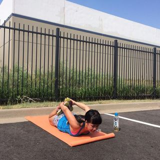 Yoga at the parking lot