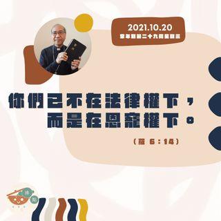 10月20日星期三【你們已不在法律權下,而是在恩寵權下】(羅  6:140)