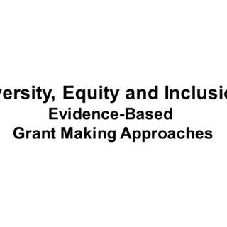 Diversity, Equity and Inclusion: Evidence-Based  Grant Making Approaches