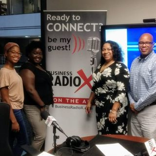 Erica Bracey and Cameron Geer with LaunchGSU, Tia Forbes with The Knack Brand and Todd Campbell with Alpha Phi Alpha