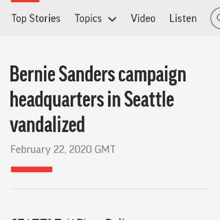 Bernie Sanders Has Rock Thrown Thru Window Of His Seattle HQ👀🤔🤯