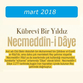 Kübrevî Bir Yıldız Necmeddîn-i Dâye / Mart 2018